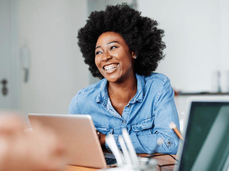 A woman on an online class
